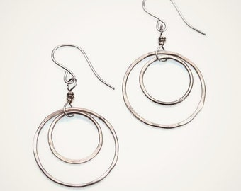 sterling silver eclipse earrings in sterling or oxidized mix