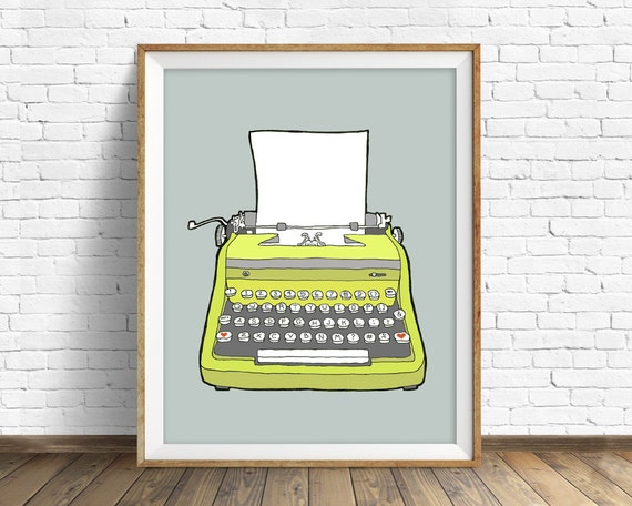"vintage typewriter, drawing, illustration, art print, large art, large wall art, gray, colorful modern, prints - ""Vintage Typewriter No. 1"""