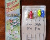 """Hatpins Display Card Vintage 1910s  4"""" Glass Twist Morris and Yeomans"""