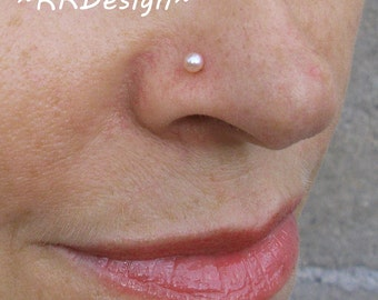 Sterling Silver-14K Gold-Pink Pearl-Bridal-Nose Stud-Tragus-Earrings-Customized / Free US Shipping