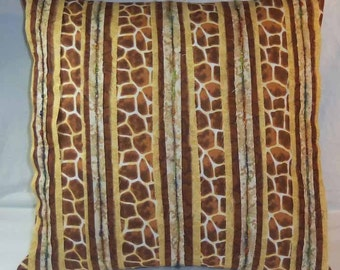 Fiber Art PILLOW: I lost my GIRAFFE handcrafted earth tones Reverse applique w texture n oomph - One of a kind Cover only no insert
