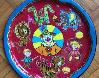 Daher enamel childrens circus tray with clown, children, dinosaur, monkey, elephant, lion, tiger