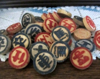 Vintage Wooden Asian Game Pieces 32 Pieces Mixed Media Art  Craft Projects