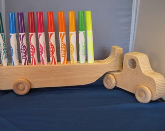 Handcrafted Wood Toy Semi Truck with 10 NEW Washable Markers, Big Rig Set  all natural wood toys ...