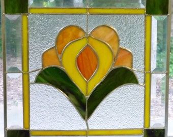 Floral Stained Glass with Orange/Yellow -Made in USA by Me!