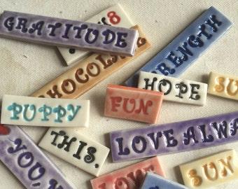 Mosaic Tile Porcelain Ceramic Custom Word 50 cents a letter size Curly Q font as shown