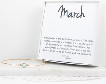 March Birthstone Aquamarine Swarovski Gold Bangle Bracelet, Swarovski Aquamarine Gold Bangle, March Birthstone Jewelry, Gold Bracelet, #773