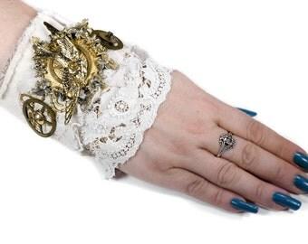SteampunkTextile Cuff BRIDAL Cuff Leather Ivory Lace, Victorian Bird Brass Wreath Textured Gears Coil Wedding Cuff - Steampunk by edmdesigns