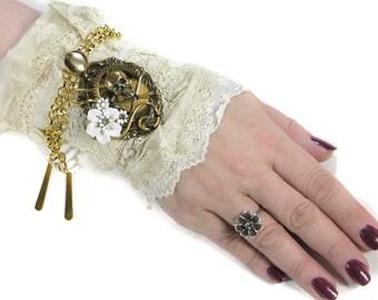 Steampunk Textile Cuff, BRIDAL Wrist Cuff Vintage Ivory Lace CORSET Skull Stone Gear Coils Steam Punk Cuff Wedding - Steampunk by edmdesigns