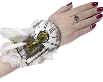 Steampunk Cuff BRiDAL DOVE Glitter WiNGS Leather 3D BiRd Cage Watch Dial Mesh Heart, Gear Wedding Cuff - Steampunk Clothing by edmdesigns