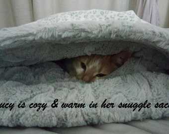 Snuggle Sack  - Cat Cave -  Grey Leopard print minky -  Includes Embroidered Personalization - Two Sizes To Choose From
