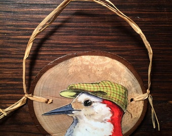 WoodPecker in a Hat ~ Birds in Hats Wood Disk Ornaments