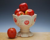 Ivory Pedestal bowl / Compote w. Red polka dots & Navy detail, Victorian modern