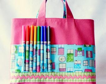Crayon Tote • Crayon Bag • Coloring Bag • Art Tote • Crayon Holder • Crayon Roll • Flower Girl • Busy Bag • ARTOTE • Window to your Soul