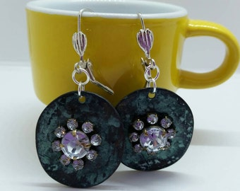 Patina Metal & Rhinestone Earrings