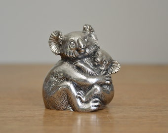 Vintage silver-plated Reed & Barton Koala musical figurine, Hard to find