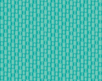Ardently Austen Geometric Teal - by the YARD - by Amanda Herring for Riley Blake