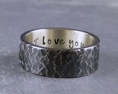 I love you ring, Inscription ring, custom made or ready to ship in size 9.25, Black ring, Mens wedding band,hand wrought ring, hammered ring