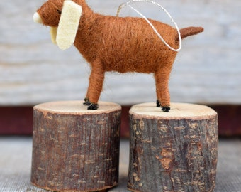 Goat in Chestnut - Needle Felted Christmas Ornament