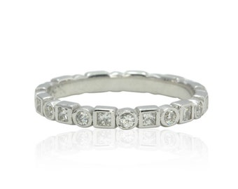 Diamond Wedding Band - Eternity Ring with Bezel set Princess and Round cut Diamonds in White Gold - LS4579