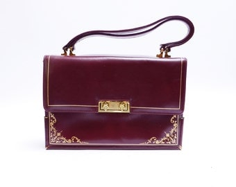 Vintage Accordion Purse // Burgundy Leather Purse// Sophisticated Leather Handbag//