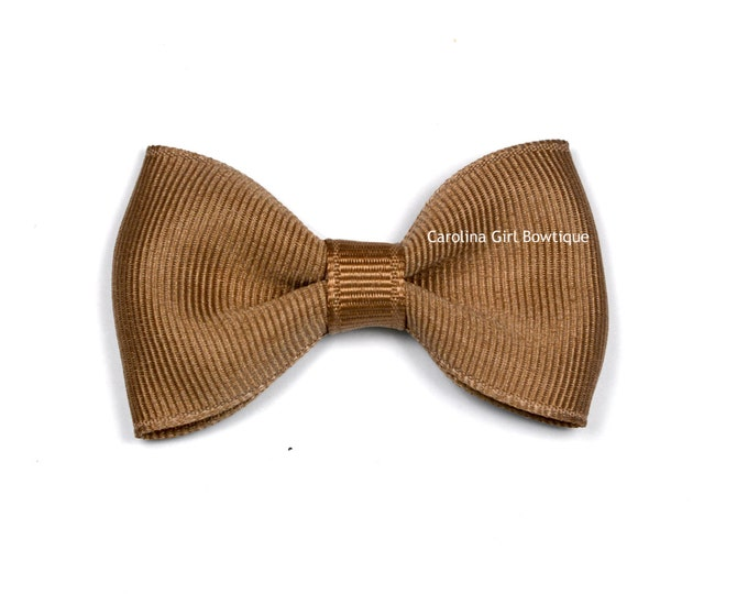"Taupe Tuxedo Bow  ~ 2.5"" Hairbow ~ Small Hair Bow ~ Girls Barrette ~ Toddler Bow ~ Baby Hair Bow ~ Hair Clip ~ Girls Hair Bow"