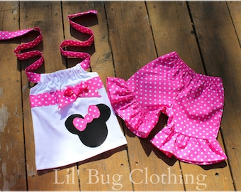 Minnie Mouse Pink White Polka Dot Girls Outfit, Minnie Mouse Girls Summer Outfit, Minnie Mouse Birthday Girl Outfit, Minnie Girl Clothes