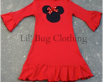 Minnie Mouse Red Knit Dress, Minnie Mouse Comfy Knit Dress, Boutique Girl Minnie Mouse Clothing