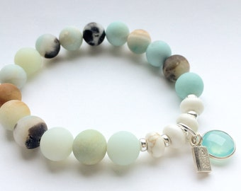 Beachy Bracelet, Amazonite Bracelet, Semi Precious Stone Jewelry, Elastic Bracelet, Beaded Bracelet, Stacking Bracelet, Beach Wedding