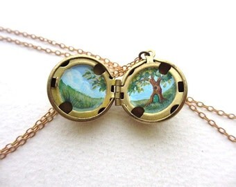 Hobbit House Locket, Tiny Oil Painting Secret Spring Green Necklace