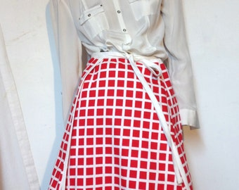 MOD Skirt Vintage Wrap Skirt 70s Size S to M