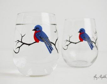 Bluebird Stemless Wine Glasses - Set of 2 Stemless Bluebird Glasses - Bluebirds, Blue Bird Glasses, Bluebird Wine Glasses, Blue Birds