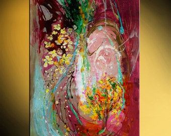 """42"""" Abstract painting on canvas Golden rain tree vivid marine purple yellow color warm background thick paint huge wall hanging Israeli art"""