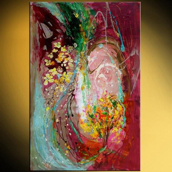42 abstract painting on canvas golden rain tree vivid. Black Bedroom Furniture Sets. Home Design Ideas
