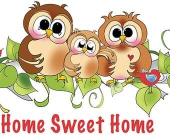 "6"" x 12"" Home Sweet Home - Owls  - Fabric Art Panel"