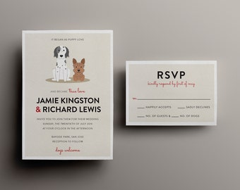 Dog Lover Personalized Portrait Wedding Invitation - Custom DIY Printable