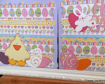 Scrapbook 12x12 Two Pages Chick and Egg Easter Paper Pieced Spring Brights