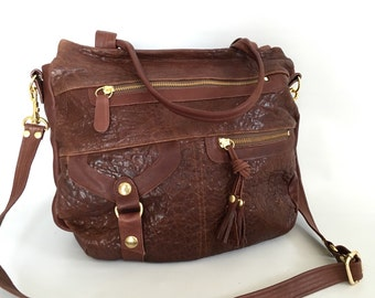 6 pocket Okinawa bag in maroon brown