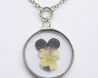 pansy necklace - purple flower necklace - silver necklace -  real flower necklace - pressed flower jewelry