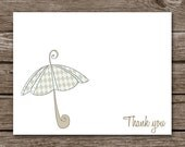 Baby Shower Thank You Cards - Baby Thank You Cards - Baby Girl - Baby Note Cards - Notecards - Umbrella - Personalized - Set of 8