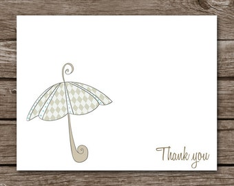 PRINTABLE Baby Shower Thank You Cards, Baby Shower Cards, Baby Thank You, Umbrella Note Cards, Personalized Cards,