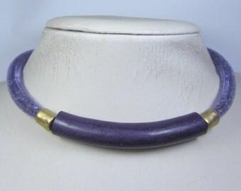 Purple Gold Necklace - Purple Mesh Necklace - Gold Purple Collar - Polymer Clay Necklace - Purple Crystal Necklace -  Purple Gold Choker