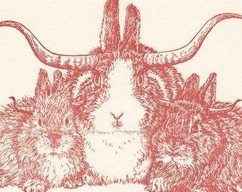 Longhorn Bunnylopes Card Original Illustrations Letterpress Printed Jacaklopes
