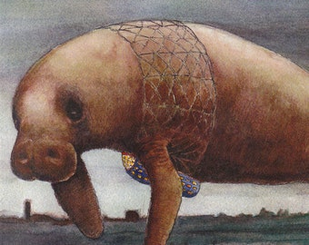 Huge Manatee Card Image from an Original Watercolor Painting