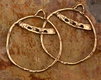 Gold Bronze Hoops, 30mm Round Earring Components, 99d