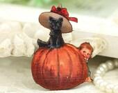 4pcs Vintage Black Cat on Pumpkin Wood Charms, Laser Cut Wooden Halloween Pendants HW048B