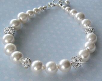 Bridal Pearl Bracelet - Pearl and Crystal Fireball Wedding Bracelet in White or Ivory - Bride Bracelet - Wedding Jewelry by JaniceMarie