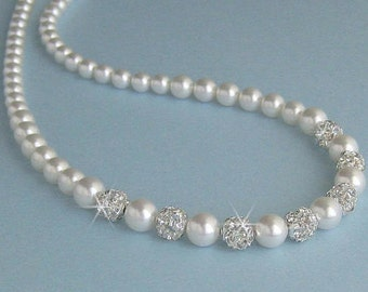 Wedding Pearl Necklace, Bridal Necklace, Single Strand Pearl and Crystal Fireballs, Pearl Necklace for the Bride or Mother of Bride