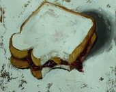 PBJ Sandwich painting 65 12x12 inch still life original oil painting by Roz