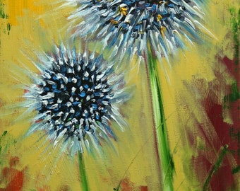 Floral painting 243 Thistle 12x24 inch original still life oil painting by Roz